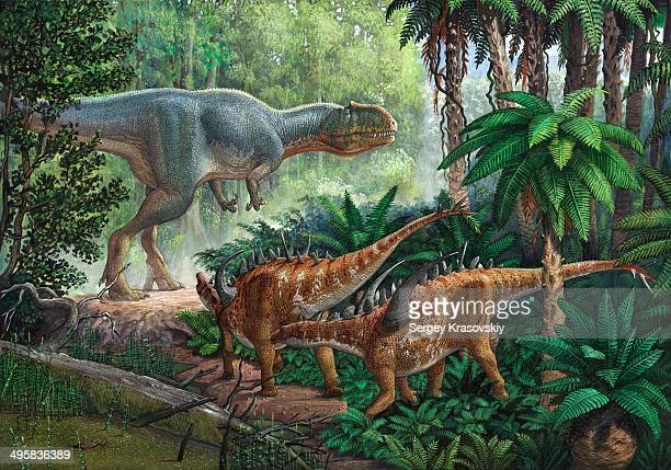 two gigantspinosaurus fearful at the sight of a large yangchuanosaurus.. - thyreophora stock illustrations, clip art, cartoons, & icons
