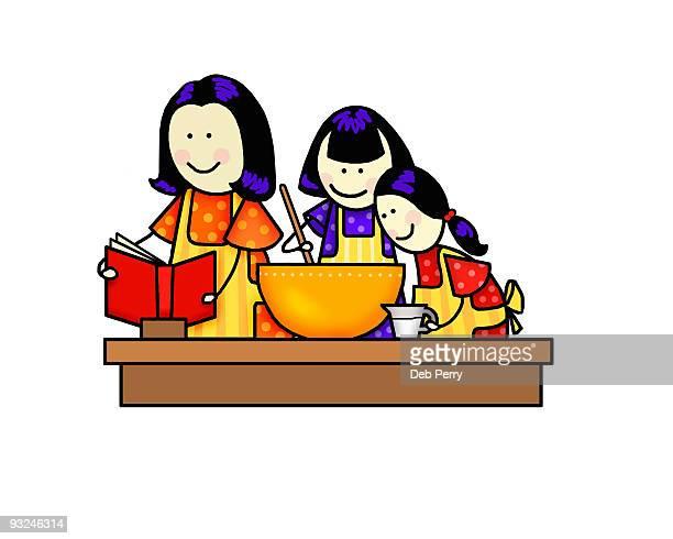 ilustraciones, imágenes clip art, dibujos animados e iconos de stock de two girls cooking with mom - madre e hija
