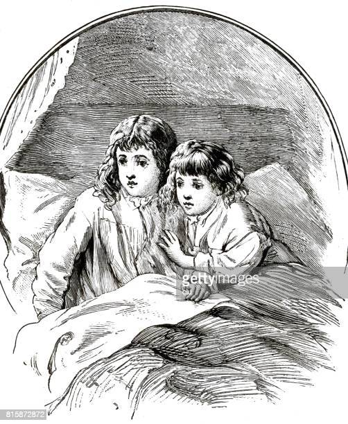 Two girls in bed waking up, saying: What noise was that?
