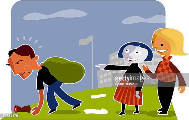 two girls laughing at a boy doing garbage duty - sneering stock illustrations, clip art, cartoons, & icons