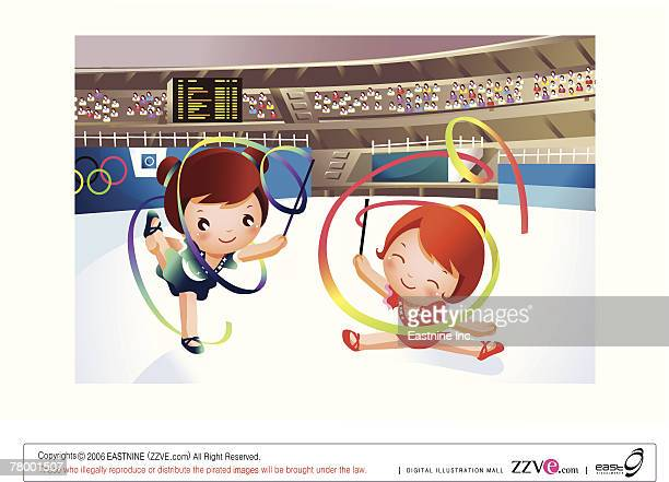 two girls performing gymnastic with ribbons - ribbon routine rhythmic gymnastics stock illustrations