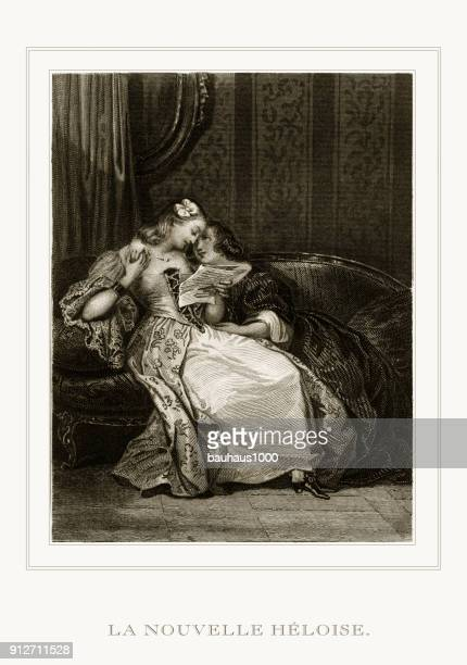 two girls reading a love letter from la nouvelle heloise (the new heloise) restored engraving - seduction stock illustrations, clip art, cartoons, & icons