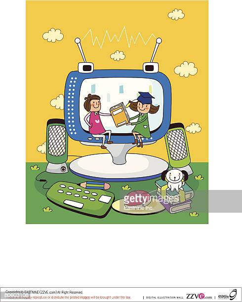 two girls sitting on a computer monitor and holding a book - computer speaker stock illustrations, clip art, cartoons, & icons