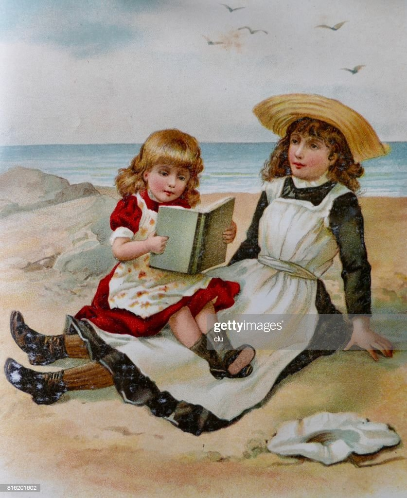 Two girls sitting on beach reading a book : Stock Illustration