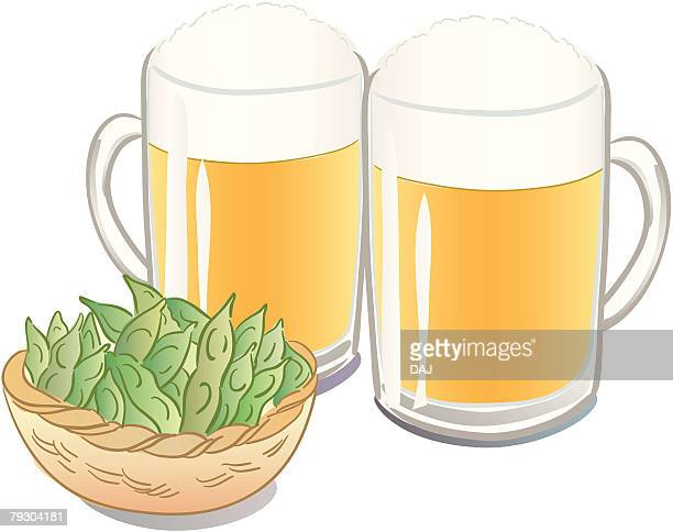 Two glasses of beer and Soybeans(Edamame) in bowl