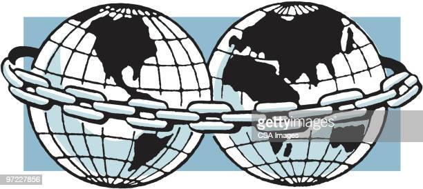 illustrations, cliparts, dessins animés et icônes de two globes chained together - catastrophe aérienne