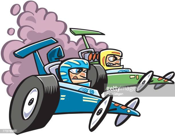 two go carts racing - go carting stock illustrations, clip art, cartoons, & icons