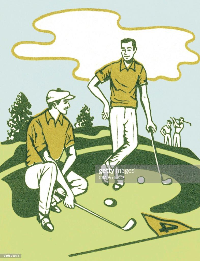 Two Golfers : Stock Illustration