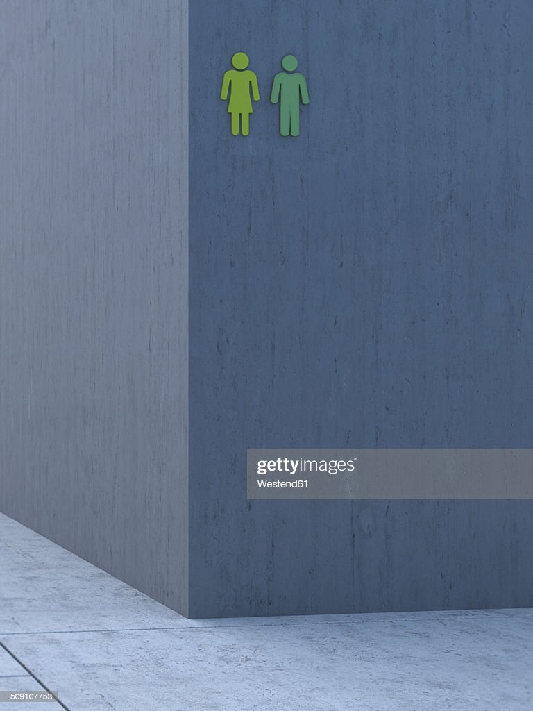 Two green icons on grey concrete wall, 3D Rendering : stock illustration
