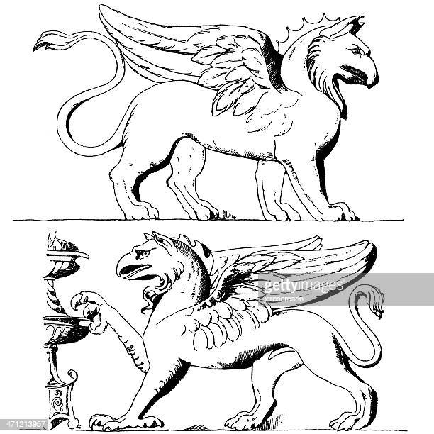 two griffins - griffin stock illustrations, clip art, cartoons, & icons