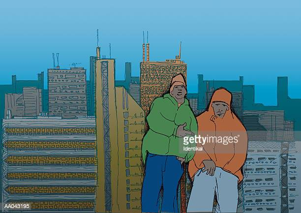 Two guys hanging out on rooftop, portrait