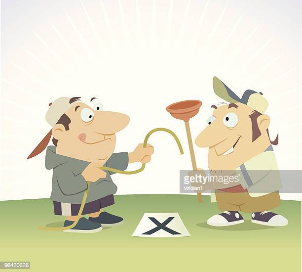 two halfwits make a hole - careless stock illustrations, clip art, cartoons, & icons