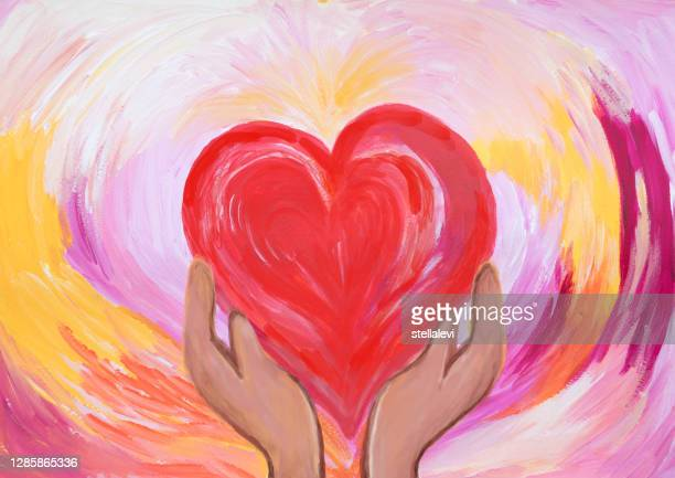 two hands holding red heart. concept of love and care. acrylic painting. - giving tuesday stock illustrations