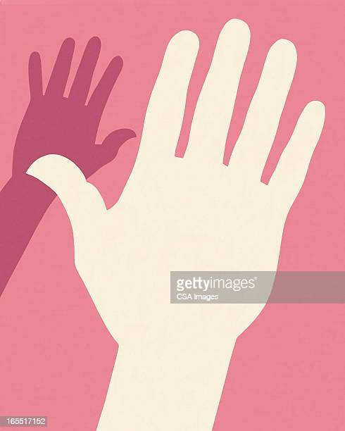 two hands - coloured background stock illustrations