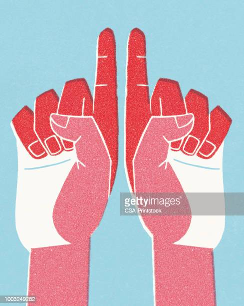 two hands pointing up - modern art stock illustrations