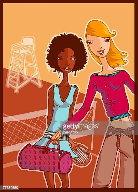 ilustraciones, imágenes clip art, dibujos animados e iconos de stock de two happy teenage friends - educacion fisica