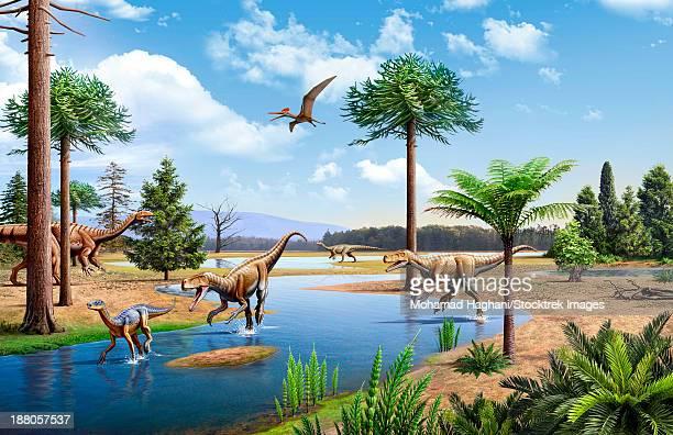 ilustraciones, imágenes clip art, dibujos animados e iconos de stock de two herrerasaurus chasing a silesaurus down a stream in the triassic period. two plateosaurus are in the background. - triásico