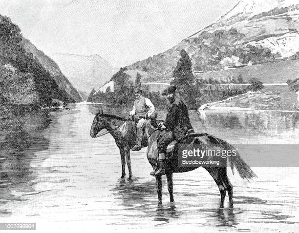 Two horsemen near village of mier cantabria  1895