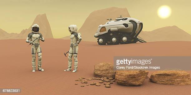 Two intrepid explorers talk togther on the next phase of their exploration of the Mars planet.