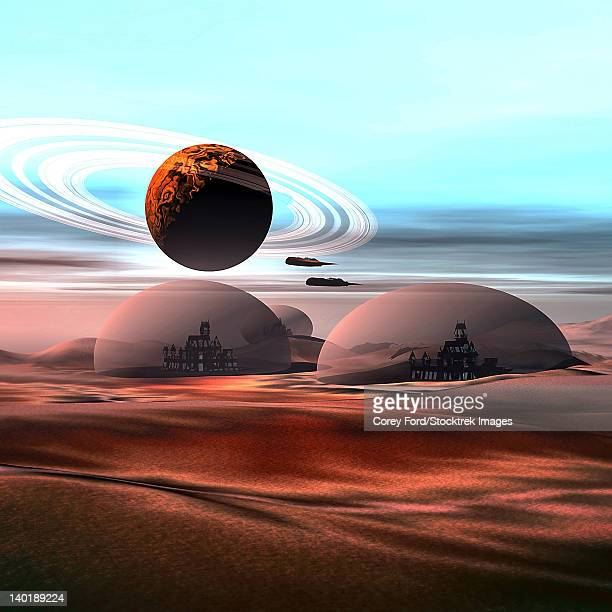 Two jet aircraft fly over dome structures on Mars.