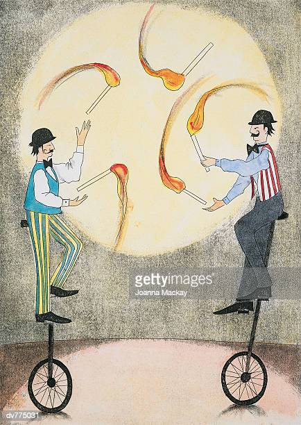 stockillustraties, clipart, cartoons en iconen met two jugglers riding unicycles juggling burning objects - match sport