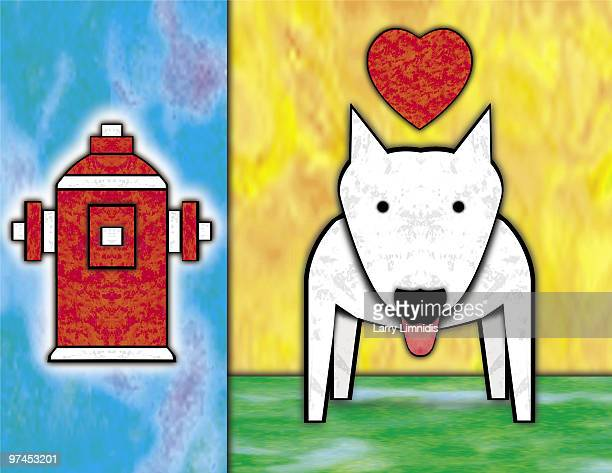 two juxtaposed images consisting of a white dog with a heart above and a red fire hydrant - sneering stock illustrations, clip art, cartoons, & icons