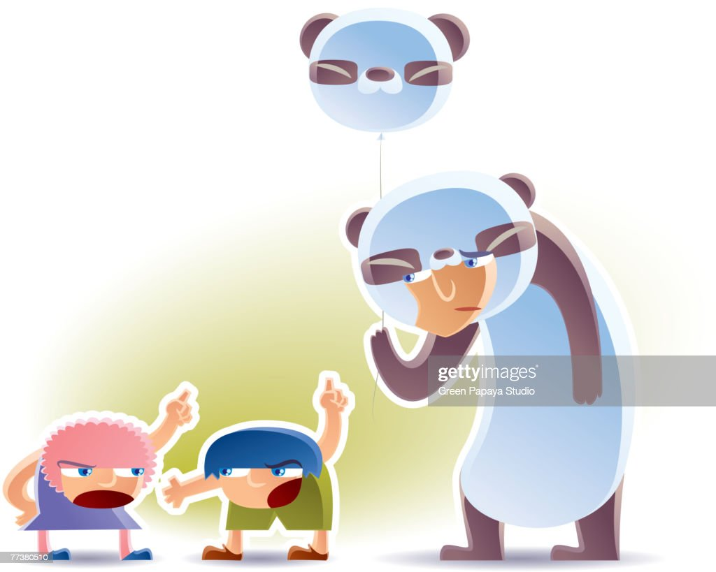 Two kids fighting over a panda balloon : Illustration