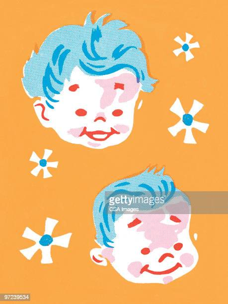 two kids - baby stock illustrations