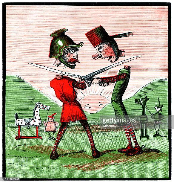 Two knights chopping off each others heads (Victorian cartoon)