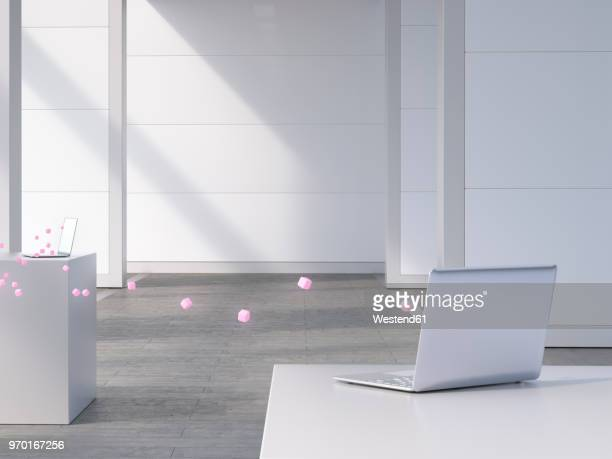 Two laptops connected by pink cubes, 3d rendering