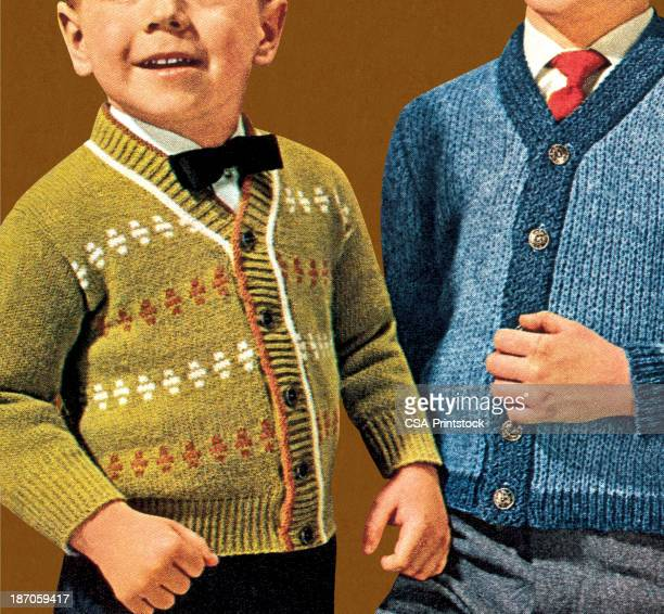 two little boys wearing caridigans - cardigan sweater stock illustrations, clip art, cartoons, & icons