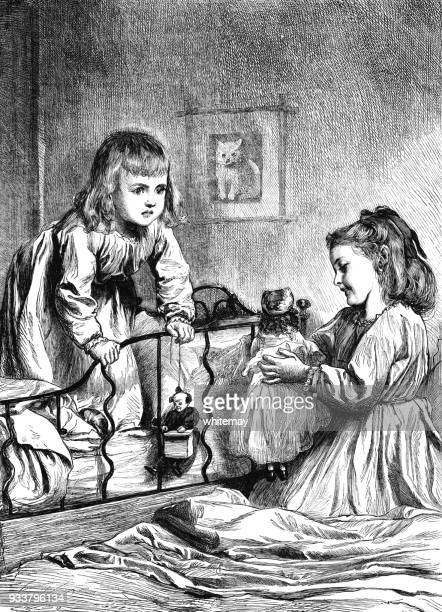 two little girls opening presents on christmas morning - christmas past and christmas present stock illustrations