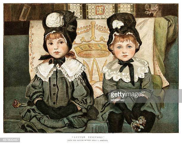 two little victorian girls going visiting - sunday best stock illustrations, clip art, cartoons, & icons