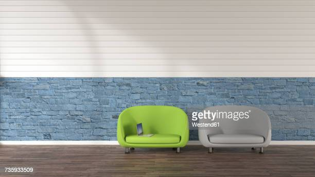 two loungers and a laptop, 3d rendering - office stock illustrations