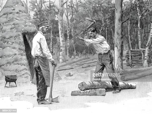 two lumberjacks working in the ardennes in 1895 - champagne region stock illustrations, clip art, cartoons, & icons