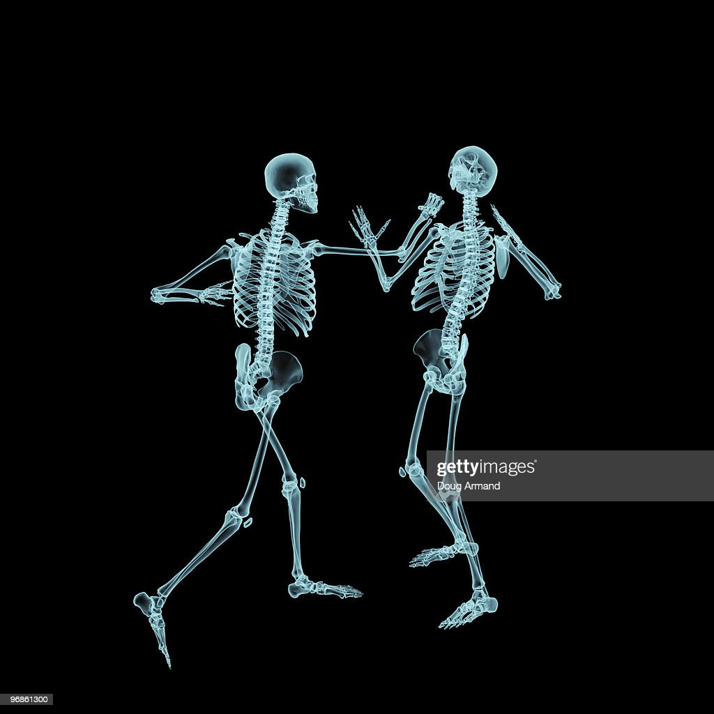 Two Male Human Skeletons Fighting Stock Illustration Getty Images