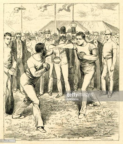 Two man boxing on sports festival in Frankfurt 1880