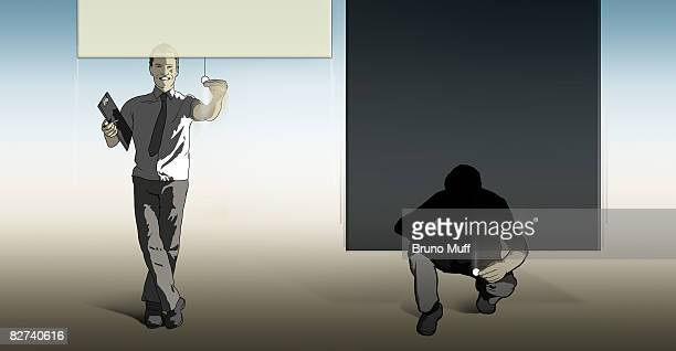 two man with open ore closed roll blinds - blinds stock illustrations, clip art, cartoons, & icons