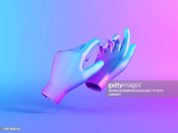 two mannequin hands, illustration - colour gradient stock illustrations