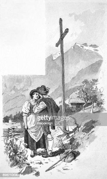 Two married people are standing under the cross of Jesus in Bergen -1896