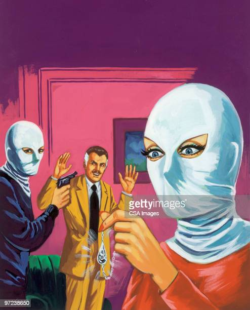 two masked people robbing man - obscured face stock illustrations, clip art, cartoons, & icons
