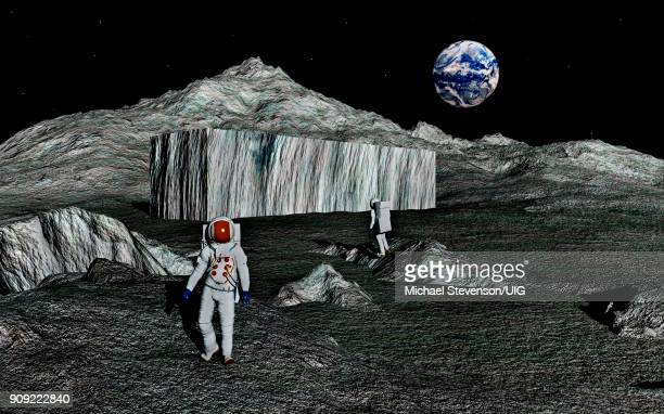 ilustraciones, imágenes clip art, dibujos animados e iconos de stock de two members of apollo 17, reportedly found large shoe box shaped structure on moon - conspiracy