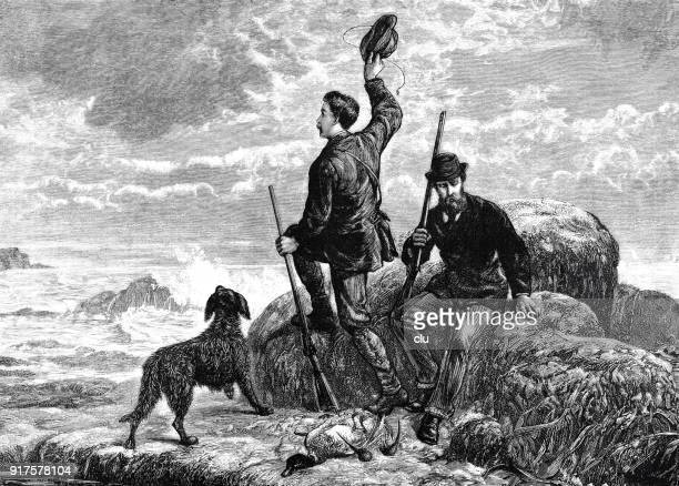 two men and a dog are waiting on a piece of land, surprised by the flood, calling for help - 1877 stock illustrations, clip art, cartoons, & icons