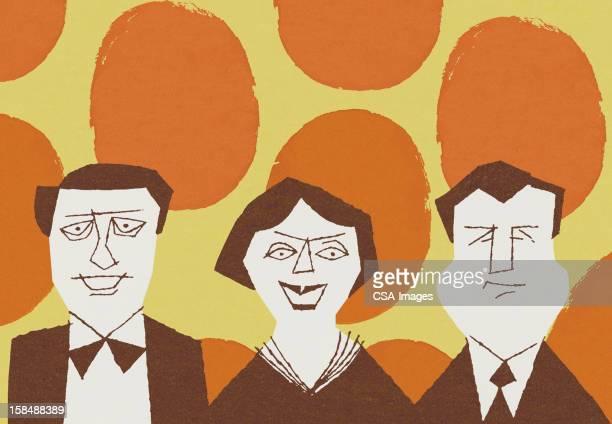 ilustraciones, imágenes clip art, dibujos animados e iconos de stock de dos hombres y una mujer en fondo de lunares - mujeres de mediana edad