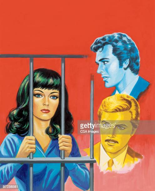Two Men and Woman Behind Bars