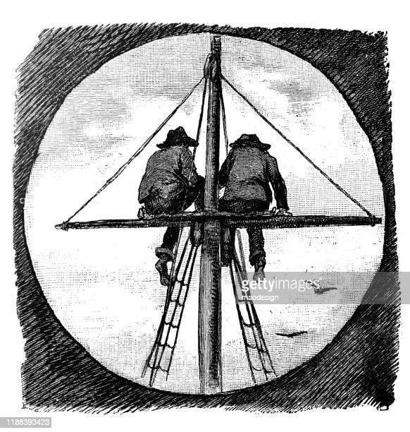 ilustrações, clipart, desenhos animados e ícones de dois homens estão sentando-se em um mastro do veleiro - 1887