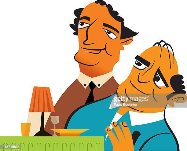 ilustrações de stock, clip art, desenhos animados e ícones de two men at a table - buchinho