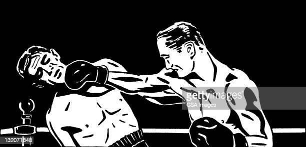 two men boxing - boxing sport stock illustrations