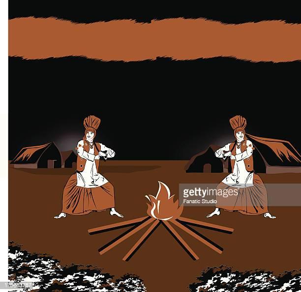 two men celebrating lohri festival, punjab, india - lohri festival stock illustrations