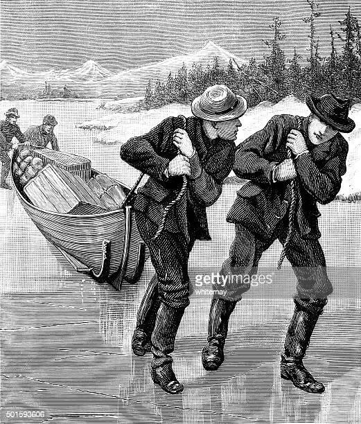 Two men dragging a boat across a frozen lake